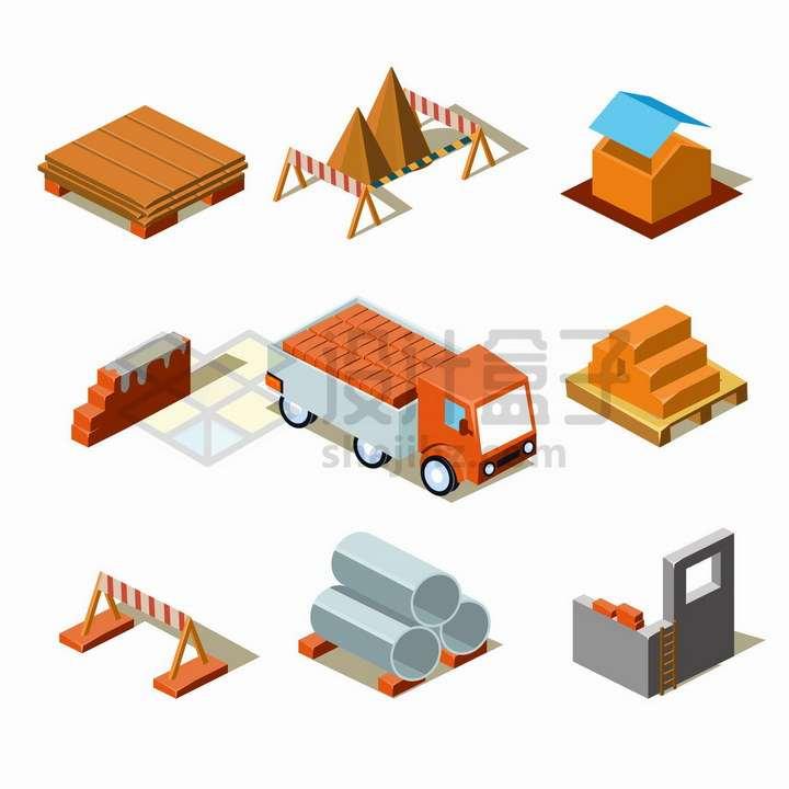 木板沙子砖墙货车管道等建筑工地材料png图片免抠矢量素材