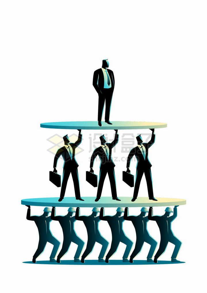 插画风格底层工人中层管理和老板企业金字塔形结构png图片免抠素材