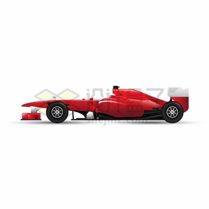 一款红色的F1方程式赛车侧视图png图片免抠矢量素材