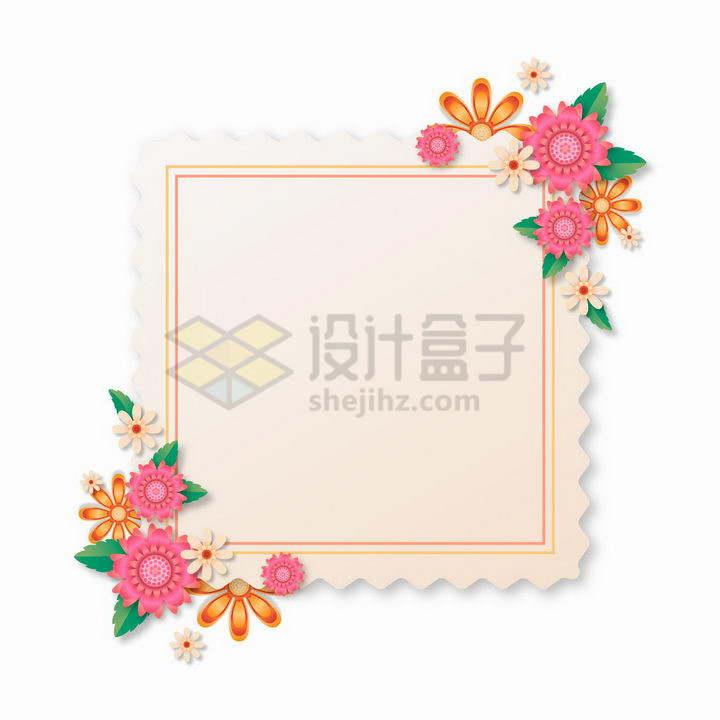 各种彩色的鲜花花朵装饰的淡黄色边框文本框标题框png图片免抠矢量素材