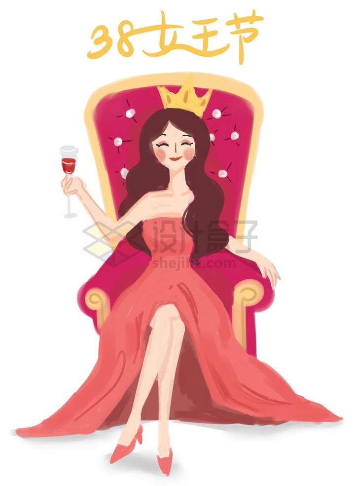 彩绘风格坐在王座上的女人三八女王节png图片免抠素材