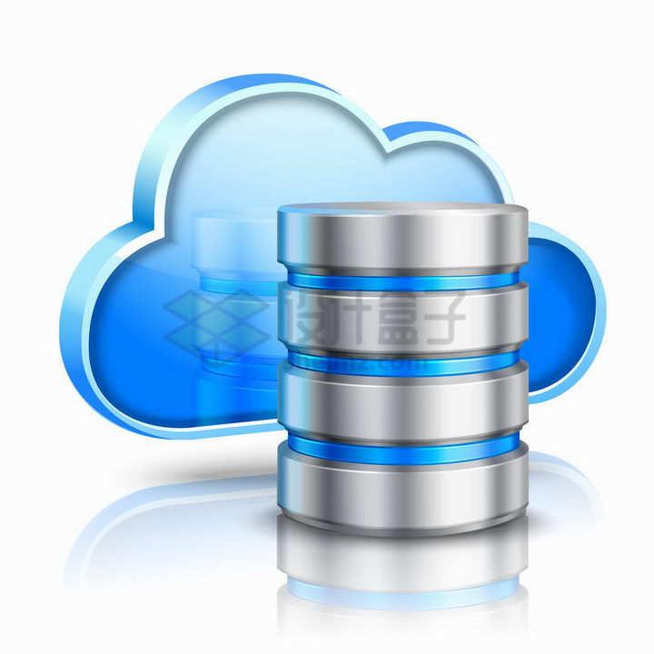 3D立体风格蓝色云朵云计算技术和圆柱形存储器png图片免抠矢量素材