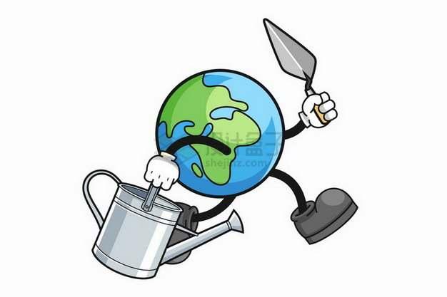 卡通地球拎着浇水壶和铲子飞奔园艺png图片免抠矢量素材