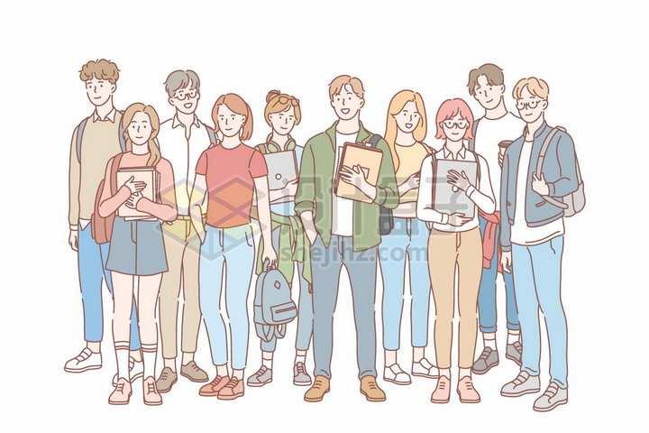 一群拿着书本和书包的大学生手绘线条插画png图片免抠矢量素材