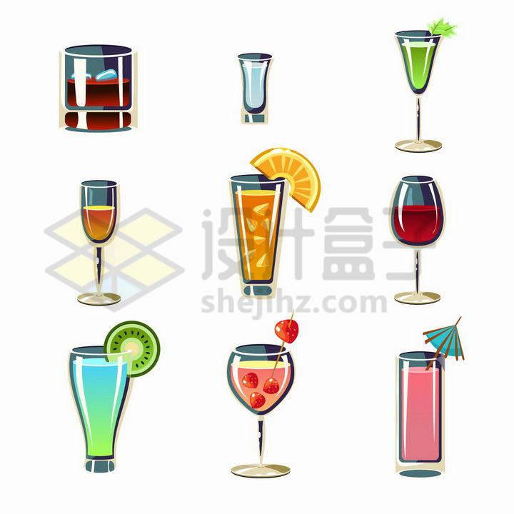 9款卡通风格红酒鸡尾酒等饮料png图片免抠矢量素材