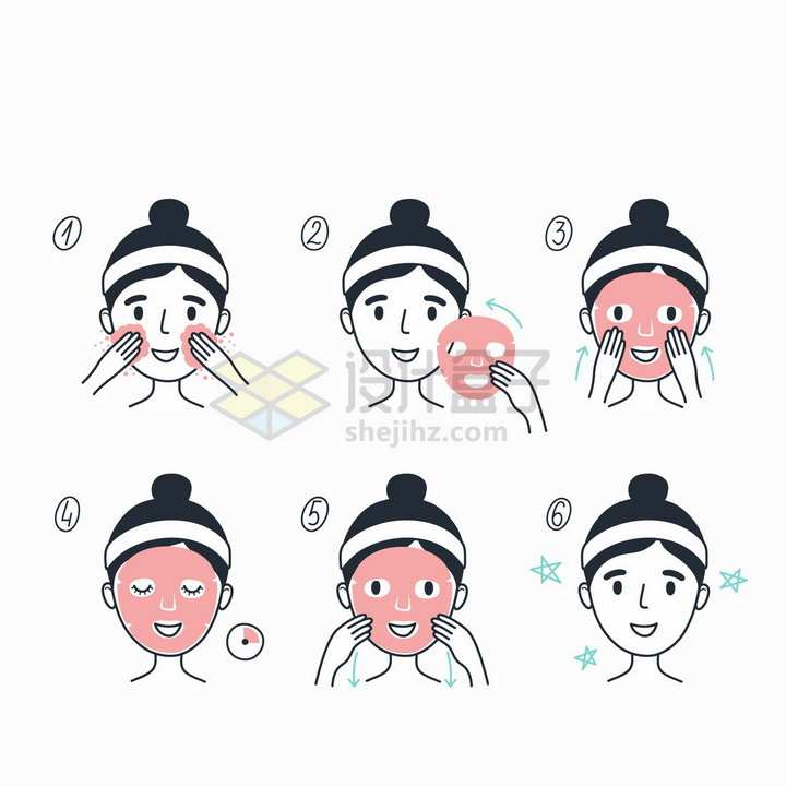 贴面膜的正确步骤示意图手绘插画png图片免抠矢量素材
