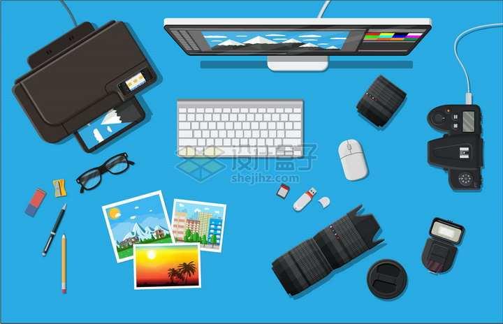 打印机数码相机iMac电脑键盘照片镜头SD卡U盘等摄影师装备png图片素材