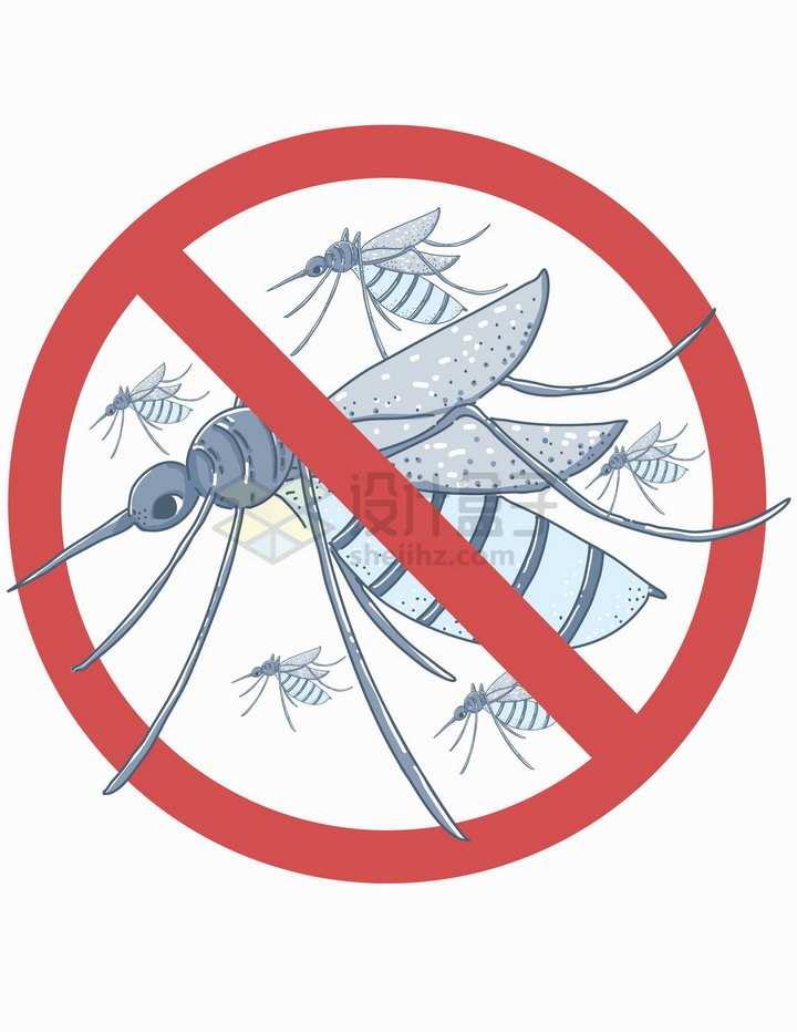 蚊子禁止标志防蚊标志png图片免抠矢量素材