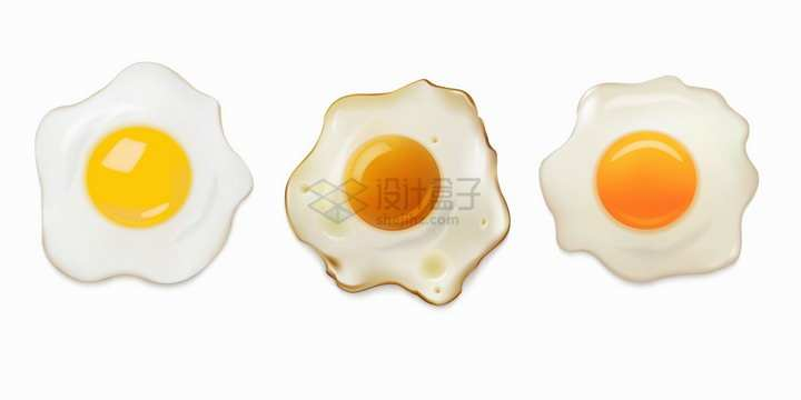 3种不同程度的煎蛋有点焦png图片免抠矢量素材