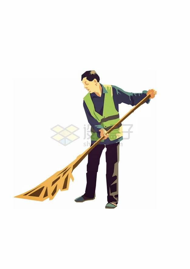 用扫帚扫地的环卫工人彩绘插画png图片素材