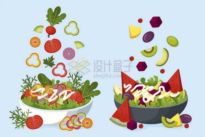 掉落到碗中的各种蔬菜水果色拉png图片免抠矢量素材