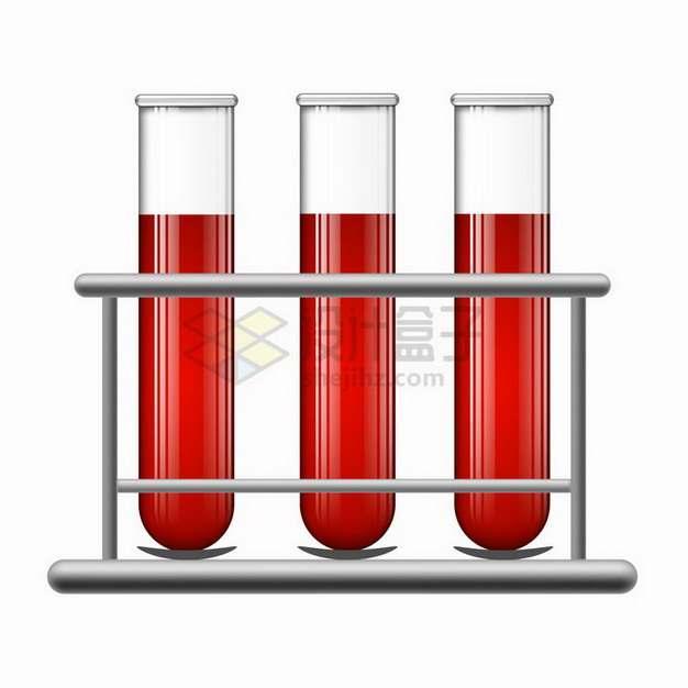 试管架上三根血液采集管样本医疗用品png图片免抠矢量素材