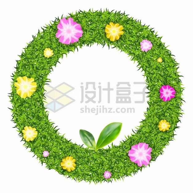 绿色青草草坪鲜花组成的圆形边框标题框png图片素材