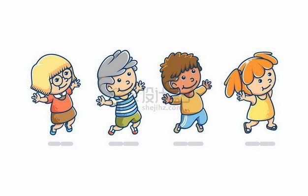 4个高兴得跳起来的卡通小朋友png图片免抠矢量素材