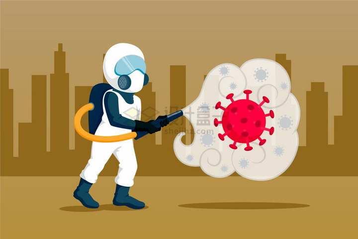 卡通医护人员全副武装杀灭新型冠状病毒扁平插画png图片免抠矢量素材