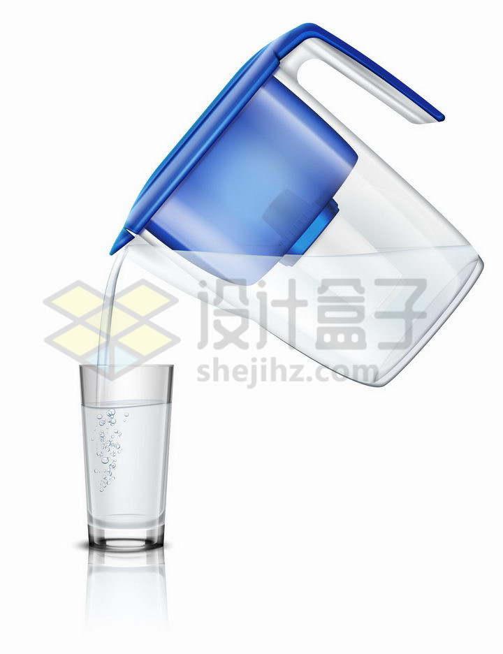 家用滤水器滤水壶净水壶过滤净水器正在给水杯倒水png图片免抠矢量素材