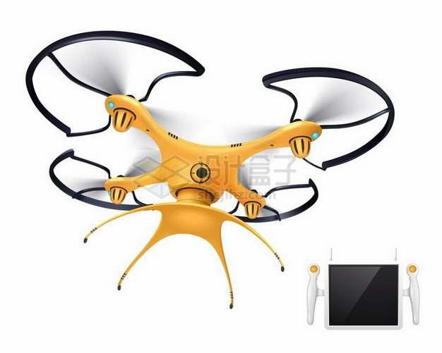 一款橙色涂装的四轴飞行器无人机和控制器png图片免抠矢量素材