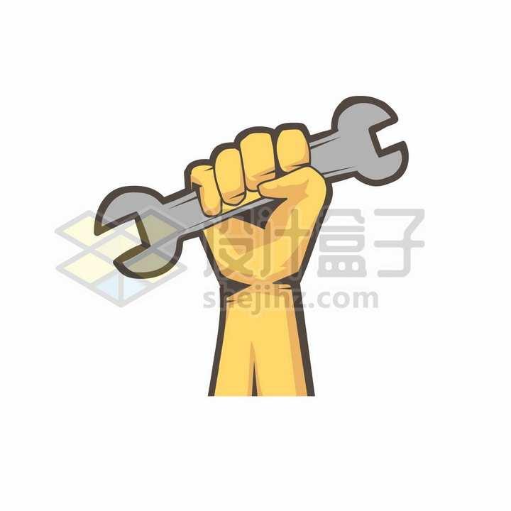 黄色拳头紧握着扳手五一劳动节png图片免抠矢量素材