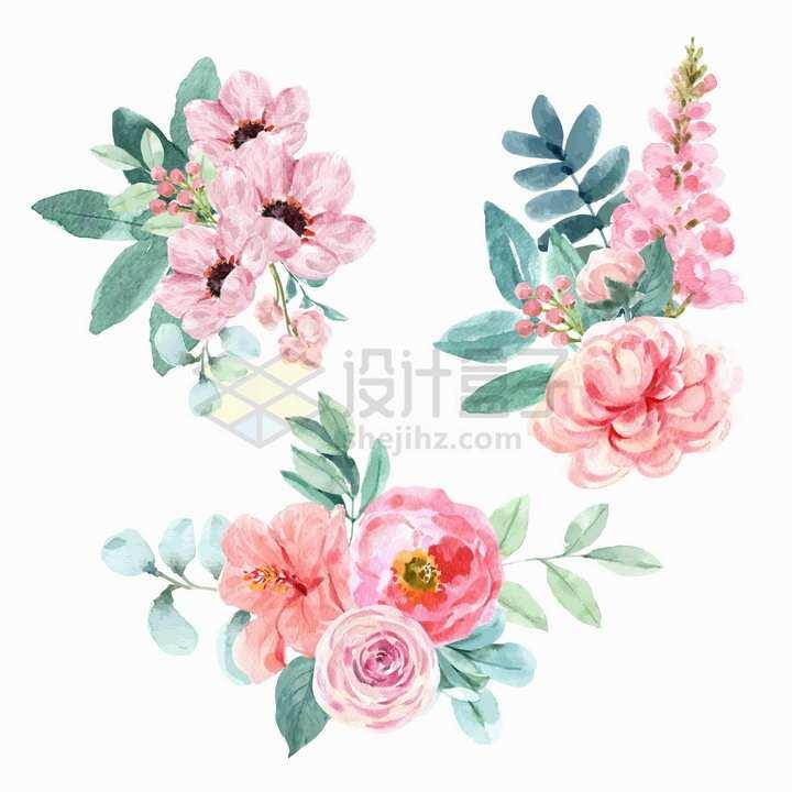 长春花牡丹花康乃馨等粉色花朵鲜花水彩画花卉png图片免抠矢量素材
