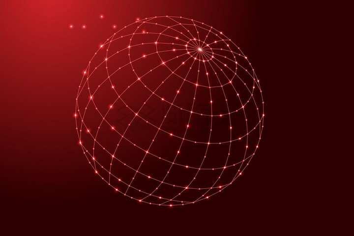 红色点线经纬线组成的圆球地球仪png图片免抠矢量素材