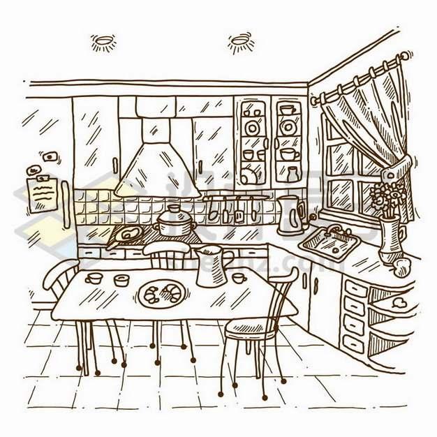 手绘素描风格杂乱的厨房和餐厅png图片免抠矢量素材