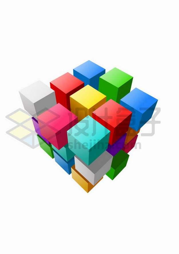 错位的彩色3D立方体矩阵魔方png图片免抠矢量素材