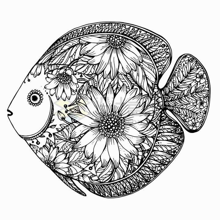珊瑚鱼抽象图案纹理部落民族图腾png图片免抠矢量素材