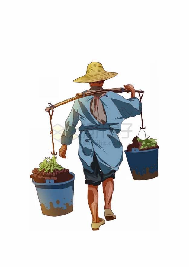 用扁担挑担子的农民背影彩绘插画png图片素材