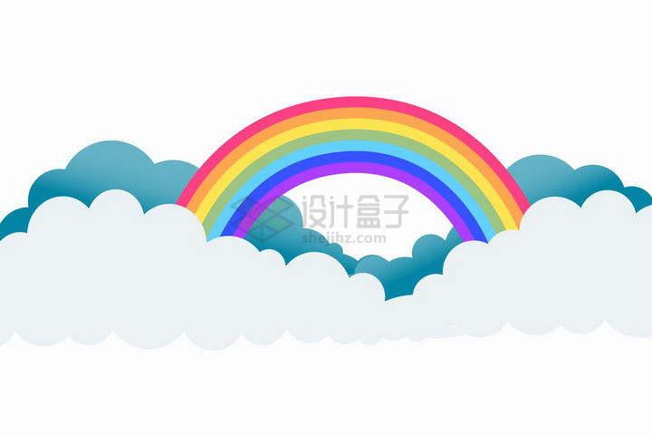 白色和蓝色卡通云朵上的七彩虹png图片免抠矢量素材