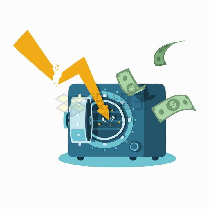 卡通保险柜中没有钱破产金融危机经济危机png图片免抠矢量素材