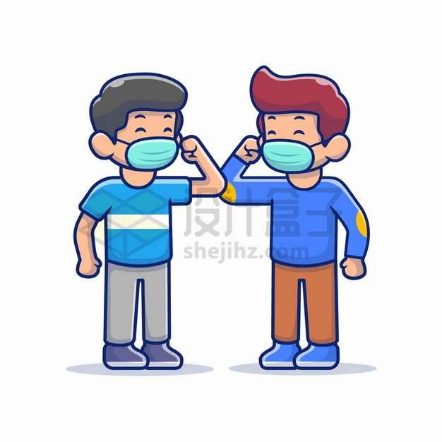 两个戴口罩的卡通男孩预防新型冠状病毒png图片素材