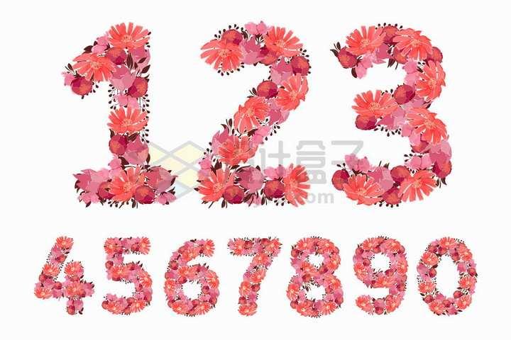 红色鲜花组成的数字字体png图片免抠矢量素材