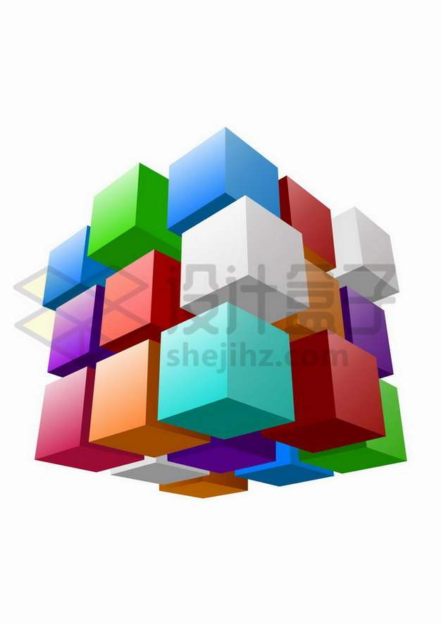 错位的彩色立方体矩阵魔方png图片免抠矢量素材