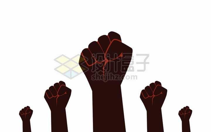 红黑色紧握着的拳头五一劳动节png图片免抠矢量素材