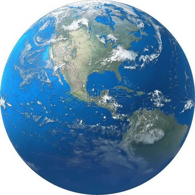 高清谷歌地球蔚蓝色大海和美洲大陆png图片免抠素材
