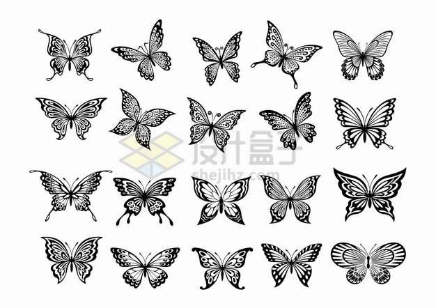 20款黑白色蝴蝶图案png图片素材