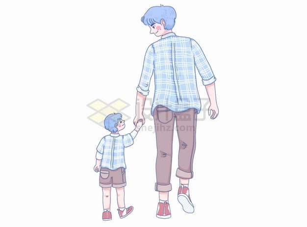 手牵手的卡通父子背影父亲节亲子关系彩绘插画png图片素材