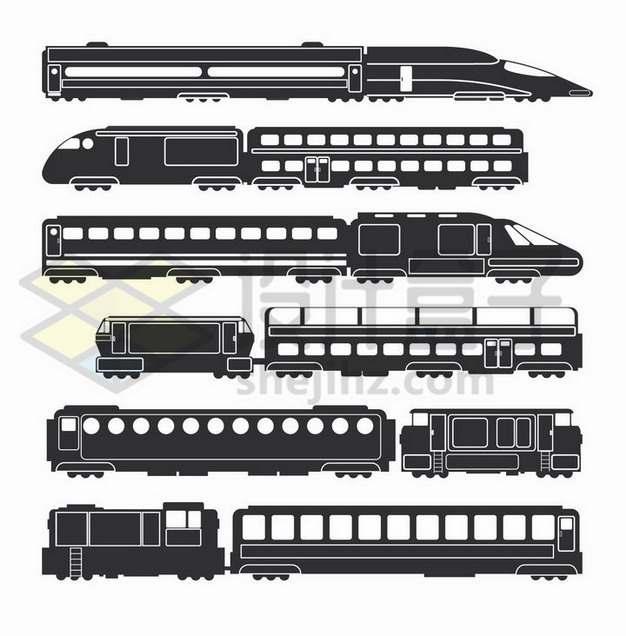 各种黑白色高铁火车车厢侧视图png图片免抠矢量素材