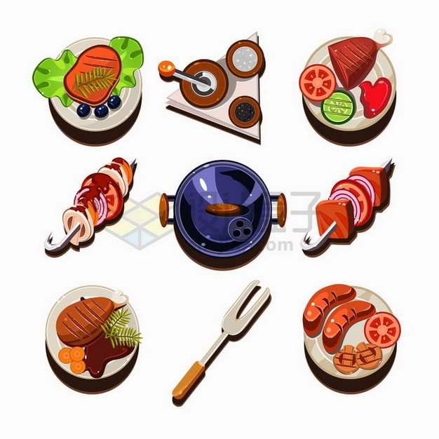 9款卡通牛排烤肉烤串香肠等美味美食png图片免抠矢量素材