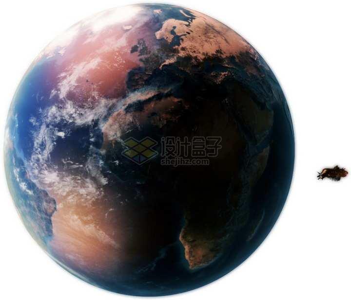 科幻风格的高清紫色地球和轨道上的飞船png图片免抠素材