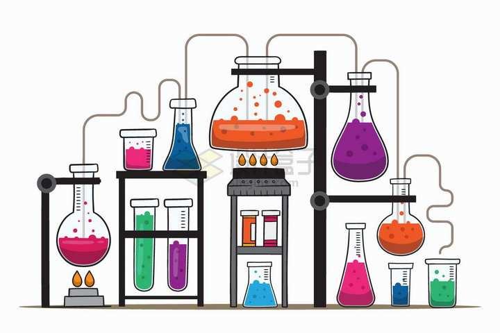各种化学实验仪器串联在一起手绘插画png图片免抠矢量素材