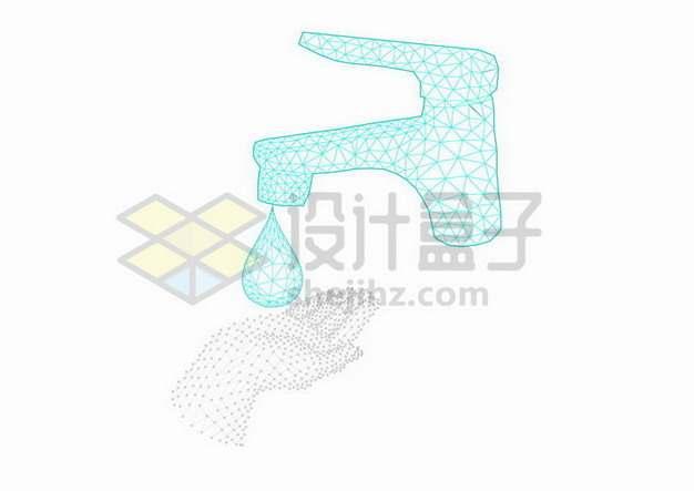 蓝色点线三角形组成的水龙头水滴和手掌png图片免抠矢量素材