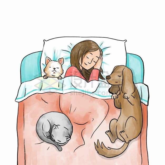 卡通女孩和狗狗猫咪在一张床上睡觉宠物彩绘插画png图片素材