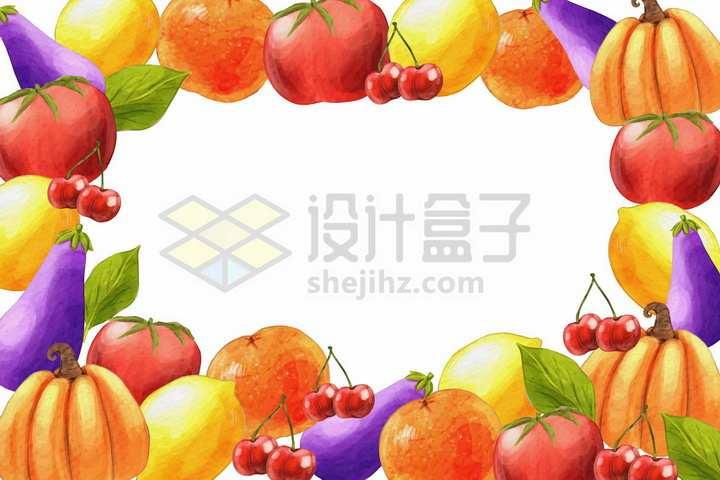 苹果西红柿茄子南瓜樱桃等美味水果蔬菜背景装饰png图片免抠矢量素材