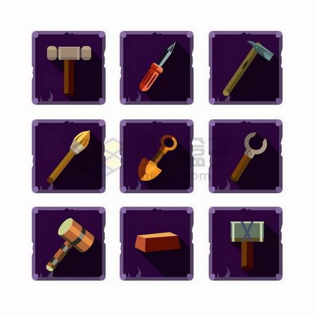 9款卡通榔头螺丝刀锤子铁锹等游戏道具png图片免抠矢量素材