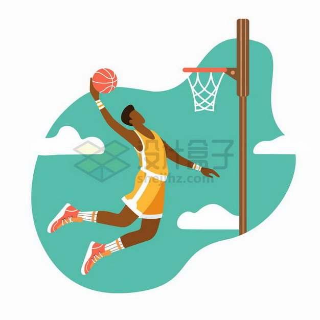 篮球运动员跳起来扣篮体育运动扁平插画png图片免抠矢量素材
