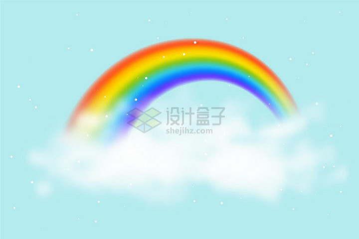模糊的白云和上面的七彩虹png图片免抠矢量素材