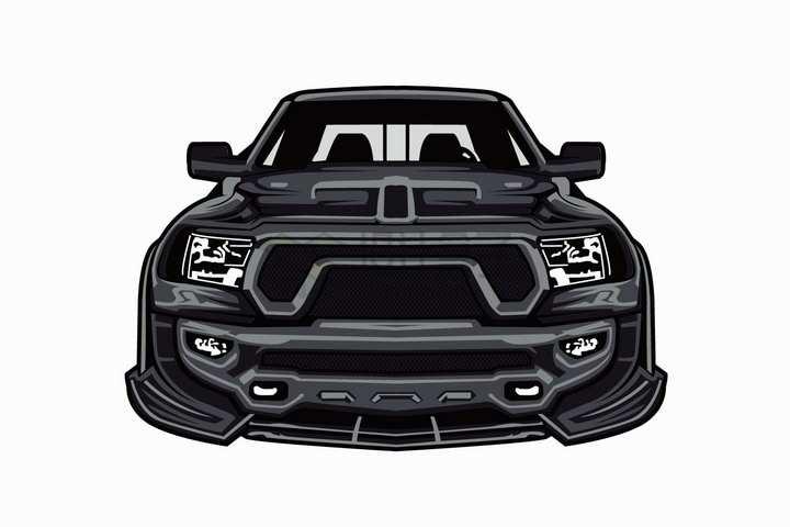 漫画风格黑色赛车汽车正面图png图片免抠矢量素材