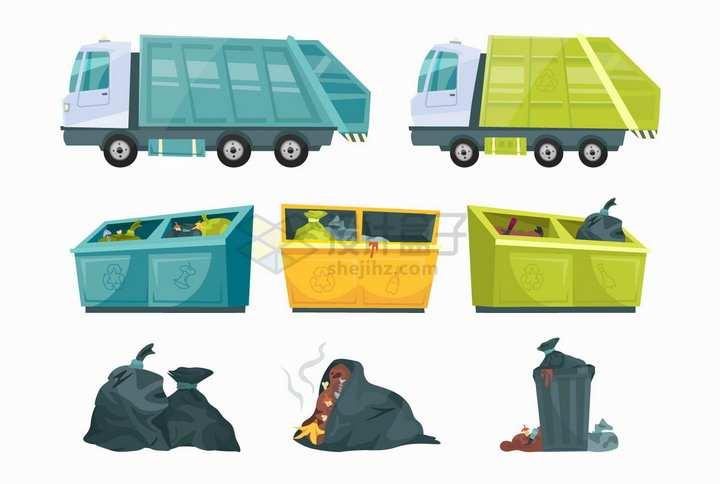卡通垃圾车垃圾桶垃圾袋等垃圾分类png图片免抠矢量素材