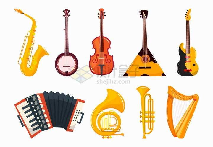 萨克斯小提琴吉他贝斯大号中号竖琴手风琴等西洋音乐乐器png图片免抠矢量素材